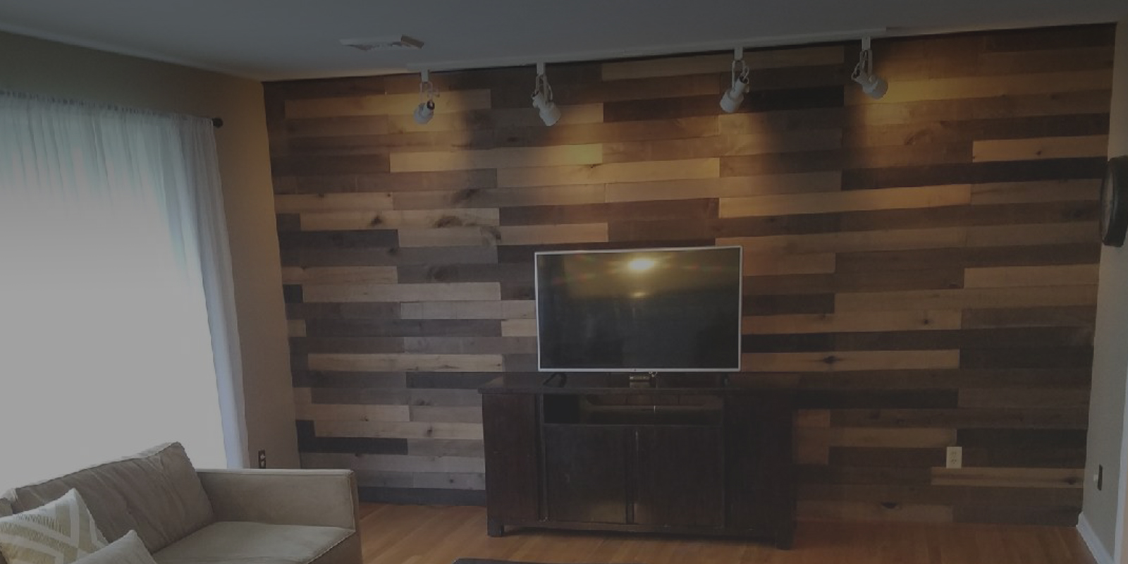 Wood Wall with Television